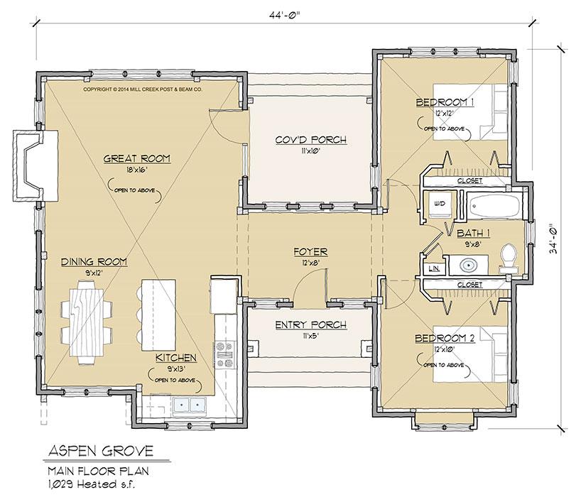 Aspen grove timber frame floor plan by mill creek for Aspen house plans
