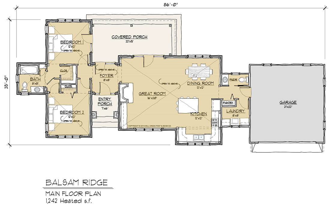 Balsam ridge timber frame floor plan by mill creek for Timber floor plans