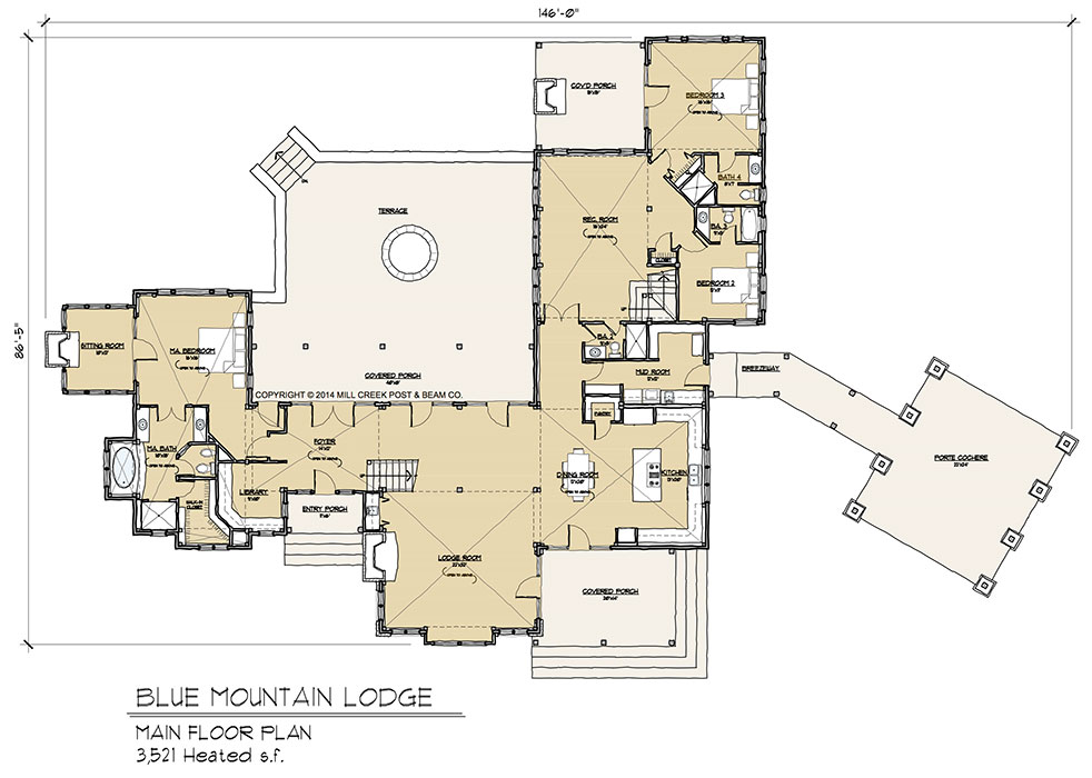 Blue mountain timber frame floor plan by mill creek for Timber floor plans