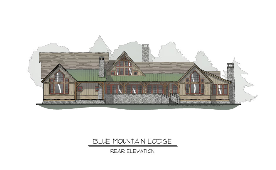 Blue Mountain Lodge Rear Elevation