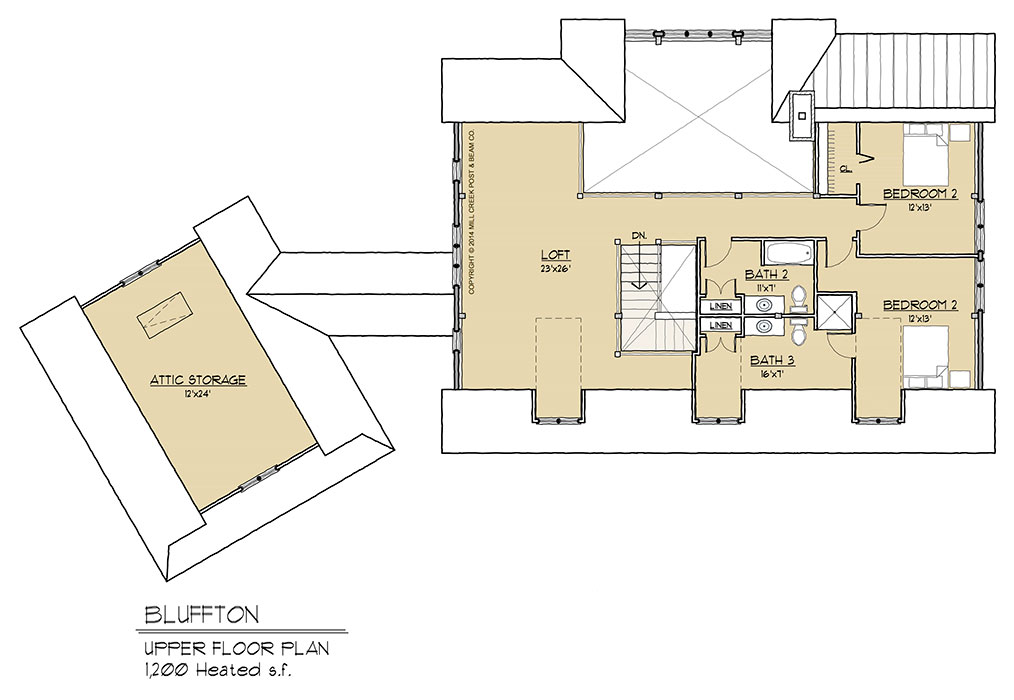 Bluffton timber frame floor plan by mill creek for Timber floor plans