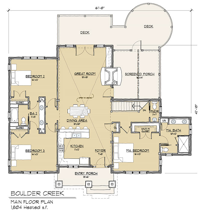 Boulder ridge timber frame floor plan by mill creek for Timber floor plans