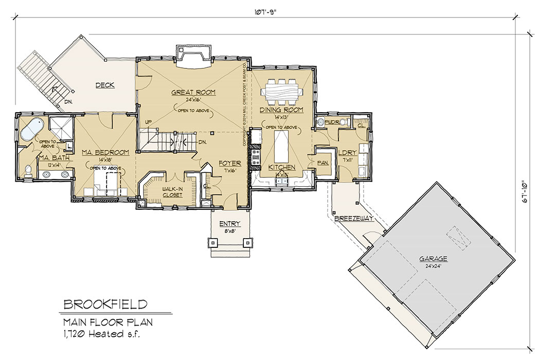 Brookfield timber frame floor plan by mill creek for Timber home floor plans