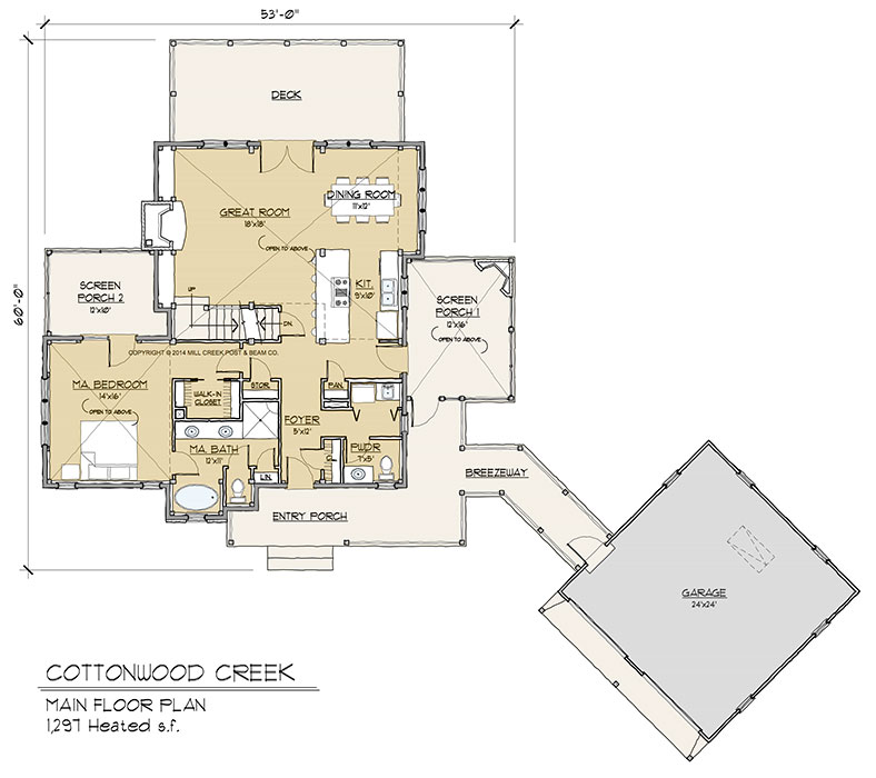Cottonwood creek timber frame floor plan by mill creek for Timber floor plans