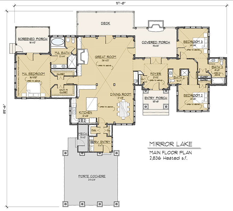 Mirror lake timber frame floor plan by mill creek for Timber home floor plans