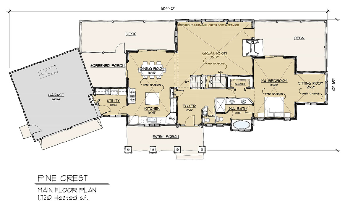 Pine crest timber frame floor plan by mill creek for Timber home floor plans