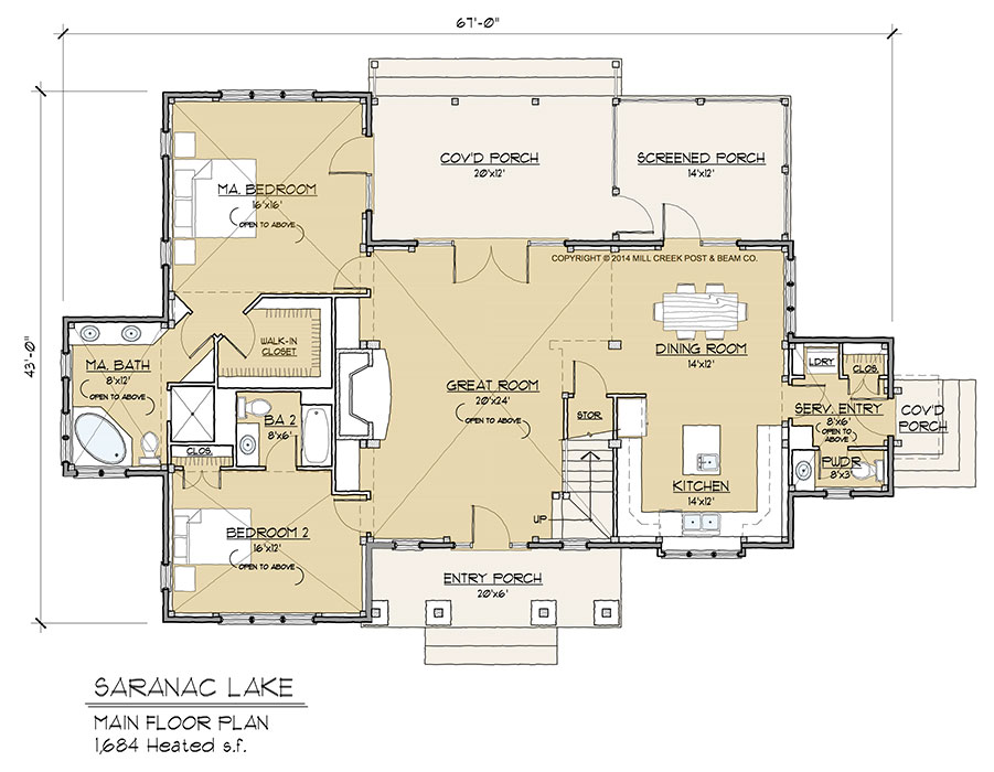 Saranac lake timber frame floor plan by mill creek for Timber floor plans