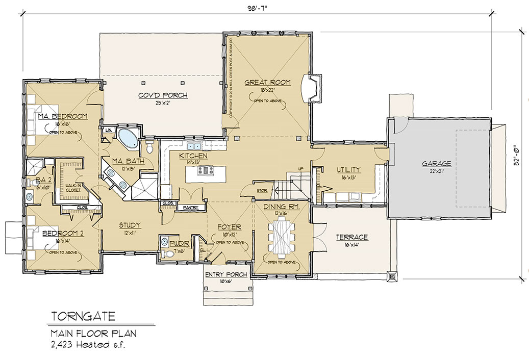 Torngate timber frame floor plan by mill creek for Ranch timber frame plans