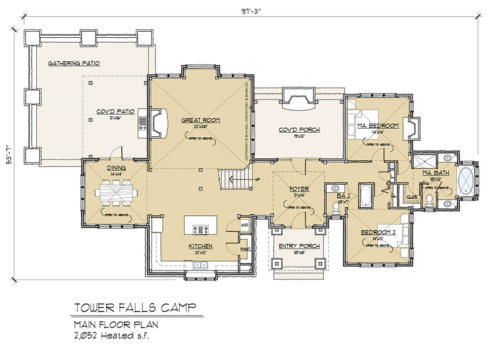 Tower falls camp timber frame floor plan by mill creek for Timber floor plans