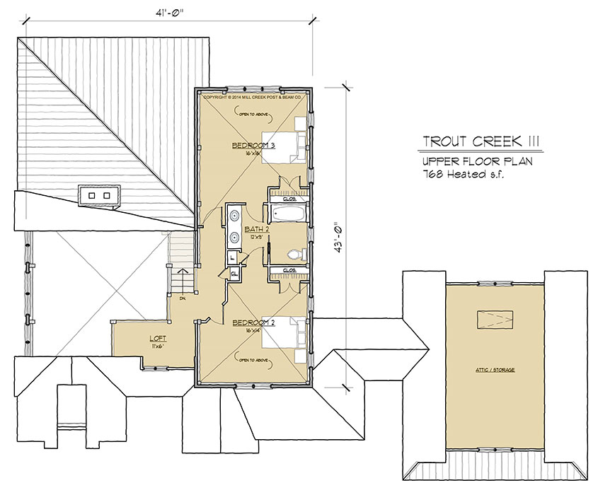 Trout creek iii timber frame floor plan by mill creek for Timber floor plans