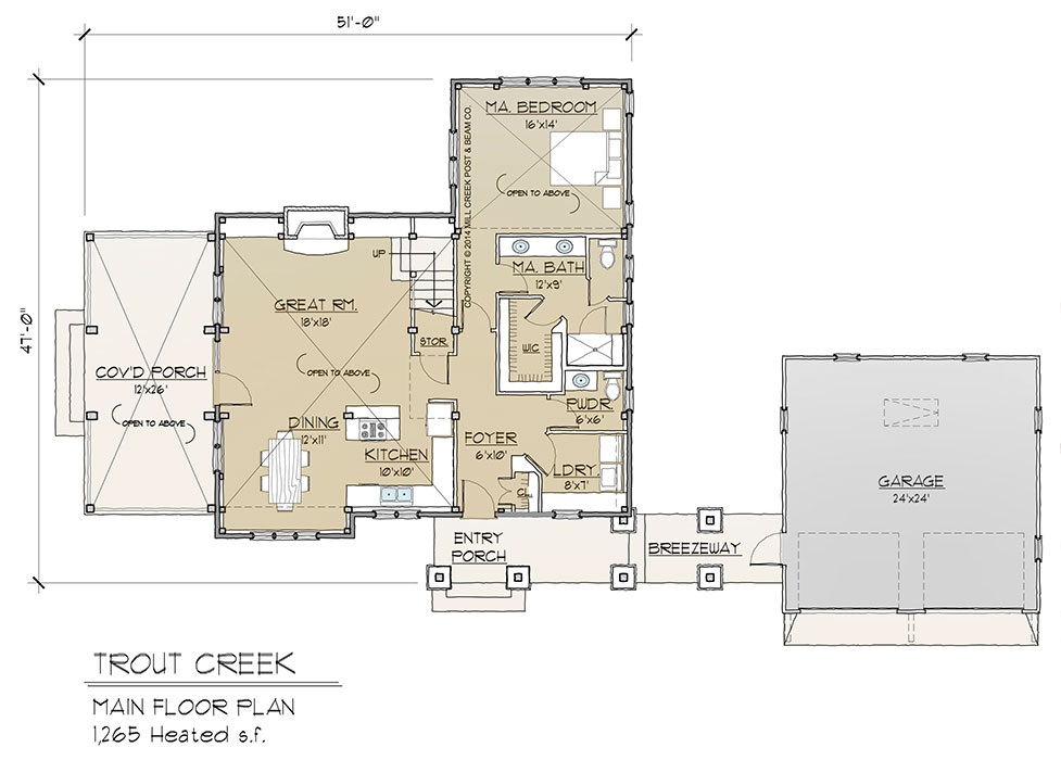 Trout Creek Timber Frame Floor Plan By Mill Creek