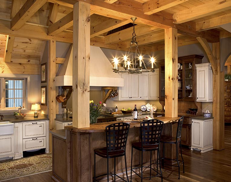Timber frame designed kitchens mill creek post beam for Timber frame kitchen