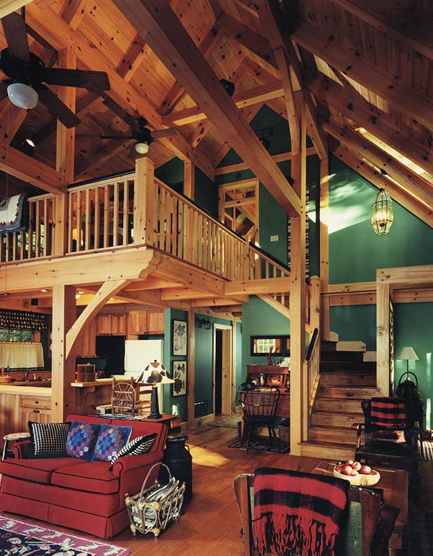 Lofts and porches images mill creek post beam for Timber frame great rooms