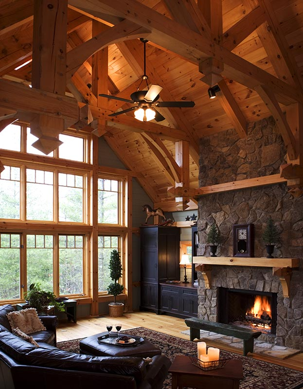 Pin timber frame great room photos custom designs on pinterest for Timber frame great room