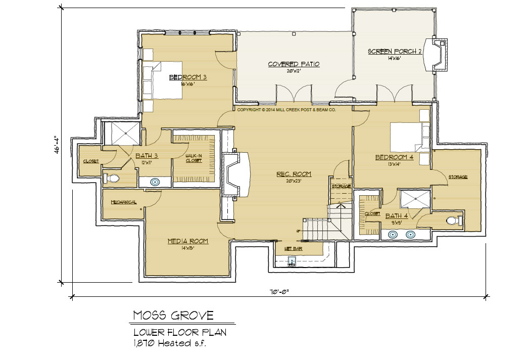 Moss Creek Timber Frame Home floor plan