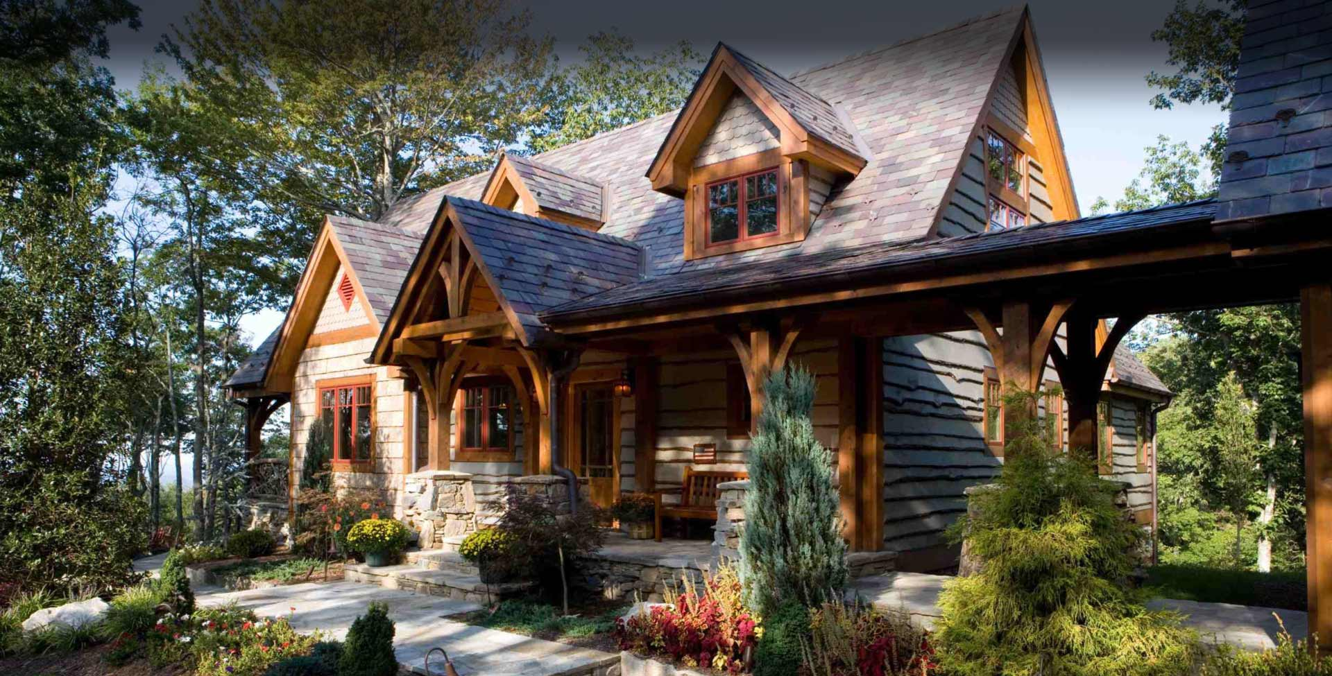 Timber frame homes by mill creek post beam company for Timberframe house