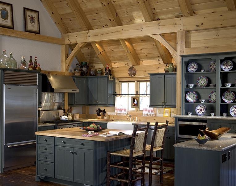 Timber frame designed kitchens mill creek post beam for A frame house kitchen design